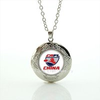 Wholesale Gold Locket China - New fashionable stylish jewelry locket necklace Souvenirs jewelry gift with China Newest mix 32 sport team for friend NF041