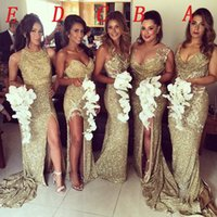 Wholesale Sweetheart Ruffled Slit Wedding Dress - Gold Sequins Bling Bridesmaid Dresses Side Slits Sexy Back Sheath Long Vintage Wedding Maid of Honor Gowns Women's Prom Pageant Formal 6943