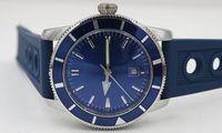 Wholesale Diving Belt - Luxury brand Mens Superocean Heritage Blue Dial Date Rubber Belt stainless steel Sport Chronograph Watch Men rubber belt Dive Wristwatch