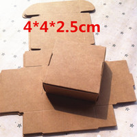 Wholesale Kraft Brown - 50PCS 4*4*2.5cm White Brown Black Mini Kraft Paper Cartons Box Ring Jewelry Packing Box Wedding Gifts for Guests Candy Box