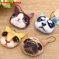 Wholesale Mini Coins Toy - New hot Cute Mini Cartoon 3d Printing Realistic animal dog cat Pendant Keychain Soft Stuffed Plush toy Gift for Friend