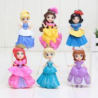 Wholesale Wholesale Sofia First - 6pcs lot 8cm Sofia Princess snow white elsa anna Bella PVC Action Figures toy sophia doll the first Princesses figure Toys