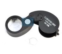 büyüteç gözlük ışıkları toptan satış-Katlanır 40X25mm Gözlük Büyüteç Takı Izle Kompakt Lupa Led Işık Lamba Büyüteç Mikroskop Lupas De Dumento Büyüteç