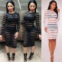 Wholesale Sexy Stocking Calf - Hot Cheap Plus Size Night Club Party Dress 2016 Summer Style Women Long Sleeve Sheer Sheath In Stock Bandage Bodycon Beach Black Dress ZJ06