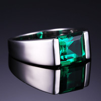 Taille 8-11 Populaires bijoux de luxe Handmade Men Solitaire Princesse coupé 4ct Emerald Simulated Diamonnd 925 silver Wedding Rings Love Love