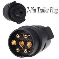 Wholesale trailer wires online - 7 Pin Trailer Plug Pole Wiring Connector V Towbar Towing Caravan Truck Plug N Type Trailer End Plastic order lt no track