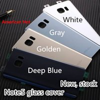 Wholesale Notes House - Original Note5 Back Cover Glass housing Battery Cover Glass Door Case For Samsung Galaxy Note 5 N920 N920F Back Glass Free Shipping