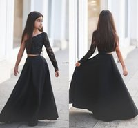 Wholesale Teens Sexy Satin - 2016 New Modest Girls Pageant Dresses Two Pieces One Shoulder Beads Black Sexy Flower Girl Dress For Child Teens Party