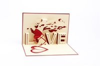 "Wholesale Love Handmade Card - 3D handmade creative greeting cards Three dimensional ""LOVE"" tree Love and wedding memory CARDS Paper carving gift card"