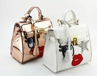 Wholesale Ladies Purses Snakeskin - New Arrvial Style Fashion big eye lip star Girl Cute Shoulder Bag Weekend Purse Tote Travel Duffle Handbag 2Colors Choose