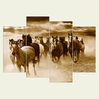 kunstmalerei abstraktes pferd großhandel-(Kein Rahmen) Pferd Serie HD Leinwand 4 Stück Wand Kunst Ölgemälde texturierte abstrakte Bilder Decor Wohnzimmer Dekoration