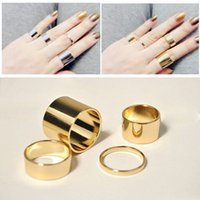 Atacado - 4 Pics / set Gold / Silver Design simples Anéis finos Midi Mid Finger Knuckle Ring Set for Woman