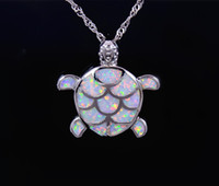 Wholesale Sea Fire - Wholesale & Retail Fashion Jewelry Fine White Fire Opal Sea Turtle Stone Sliver Pendants and Necklace For Women PJ17082713