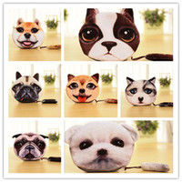 Wholesale Korean Girl Wallets - 19 Design 3D Printer Cat face Cat dog with tail Coin Purse Bag Wallet Girls Clutch Purses Change Purse cartoon handbag D642