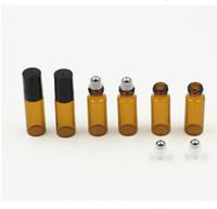 флаконы с ароматерапией янтарного стекла оптовых-300set / серия 5ml янтарные стеклянные бутылки ролика с металлом / стеклянным шариком для эфирного масла, Aromatherapy, духов и бальзамов губы