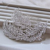 Wholesale Bridal Accessories Suppliers - Vintage Lady Comb Fashion Elegant Wedding Bridal Crystal Rhinestone Pearl Gold Leaf Hair Accessories Headband Crown Tiara Jewelry Suppliers