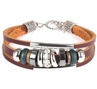 Wholesale Titanium Leather Mens Bracelet - Retro Bracelet Unisex Three Layers Leather Wrap Bracelet Mens Womens Alloy Punk Style Jewelry Bracelet Accessories Free Shipping