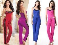 Wholesale Sexy Pajamas For Women Soft Cotton Stretch Jersey Knit Straps Sleepwear Cami and Pajama Pants yoga clothes Colors SL3044