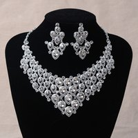 Wholesale Wholesale Luxury Prom - 2016 New Hot Sell Luxury Crystal Rhinestone Wedding Bridal Necklace Earring Set Silver Red Two Color Option Prom Party Jewel Set