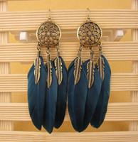 Wholesale Design Feather Earring - Hot Design Feather Earrings Women Antic Gold Leaves Earrings 10PCS Hoop Earring Black Navy Color Big Earrings Girls Party Long Earring