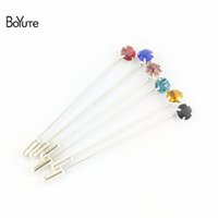 Wholesale Copper Ball Pins - BoYuTe 16Pcs 8 Colors Mix Colorful Rhinestone Lapel Pin Silver Plated Brooch Pins Fashion Jewelry Accessories