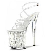 Wholesale Transparent Dresses For Women - 8 inch sexy clear platform sandals white flowers for wedding shoes fashion 20cm transparent dress high heels