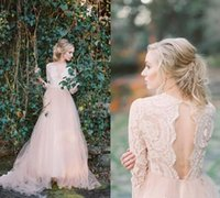Wholesale Drape Long Skirt - 2017 Vestido De Noiva Modest Vintage Bohemian Wedding Dress V-neck Tulle Floor Length A Line Wedding Gowns Long Sleeves Robe De Mariage