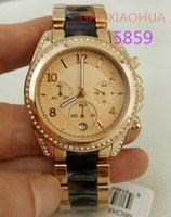 Wholesale Ladies Rose Gold Chronograph Watch - ladies luxury brand 5859 k rose gold diamond watches rubber steel wristwatch chrono graph sports watch with original box