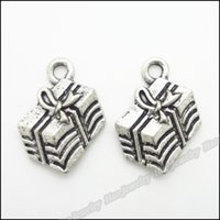 Antique Silver Plated Alloy Gift Box encantos Metal Christmas Present Box Pendant encantos 12 * 17mm 100pcs / lot AAC1310
