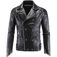 Wholesale Double Breasted Pu Leather Jacket - Leather Jacket Men hot sale Turn-down Collar Jaqueta De Couro Masculina PU Mens Leather Jackets Skull Punk Veste Cuir Homme