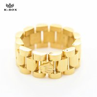 Wholesale Luxury mm Top Quality Stainless Steel18K Gold Plated Link Ring Hiphop Mens Watchband Style President Crown Band Ring Size