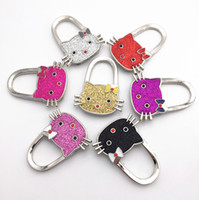 Wholesale Table Bag Holders Wholesale - Creative Fashion Kitty Handbag Hooks Rhinestone Bag Hooks Multi Use locking bag Hangers Holder Folding Bag Purse Hooks for Table