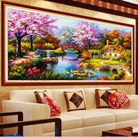 Wholesale Painting Garden Home - 2016 DIY 5D diamond painting Cross Stitch home decor Wall Sticker garden cottage Mosaic Free Shipping