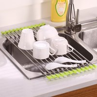 Wholesale Kitchen Dish Drainer - Easy To Use Foldable Kitchen Sink Rack Stainless Steel Dish Cutlery Drainer Drying Holder Useful Kitchen Tools