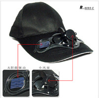 BLACK / FREE SHIPPING / SWITCH controled / angetriebener Solarventilator KÜHL CAP COOL BASEBALL CAPS