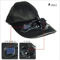 Wholesale Solar Fan Caps Free Shipping - BLACK  FREE SHIPPING SWITCH CONTROLED SOLAR POWERED FAN COOLING COOL BASEBALL HAT CAP