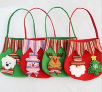 décoration chrismas achat en gros de-Nouvel An Chrismas Santa Claus Enfants bonbons cadeaux sacs à main sac pochette mariage sac présent cadeau décoration de Noël mignon Santa