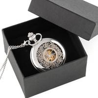 gravierte silberne kisten großhandel-Vintage Silber gravierte Fall Männer mechanische Taschenuhr mit Kette Box Handaufzug beste Geschenk Anhänger Halskette