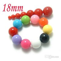 Wholesale Solid Color Plastic Beads - 100pcs lot Mixed Color Solid color GUMBALL Chunky 18MM Big Chunky Bubblegum Acrylic Solid Beads ,Colorful Chunky Beads Jewelry