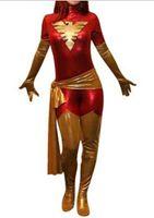Wholesale Cosplay Body Red - New X-men red dark Phoenix Costume Shiny metallic full body Superhero Jean Grey Costume halloween Cosplay Costume free shipping