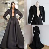 08f5e0a4b Cheap Reference Images long sleeve formal dress Best A-Line V-Neck black  evening