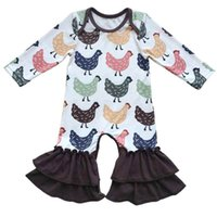 Wholesale Animal Pajama Suits - Little Girls Boutique Clothes Cute Chicken Printed Baby Girls Bodysuit Autumn Winter Baby Girls Long Sleeve Pajama Suit
