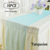 Wholesale Gold Organza Table Runners - Shipping Free 10 Organza Table Runners gold purple crystal organza fabric 30X275cm Modern table runner for wedding in Event & party supplies