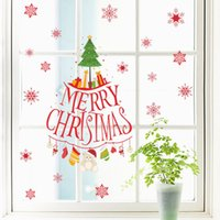 Wholesale Snowflake Vinyl Window Stickers - Removable Snowflakes Merry Christmas Tree Vinyl wall sticker Decals Window decor Shop Decoration Mural Wallpaper