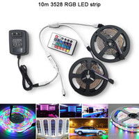 Großhandel 10 Meter 3528 RGB wasserdichte LED Streifen 60Leds / M DC12V flexible LED Tape Light + 24Key RGB Controller + 110V 220V LED Stromversorgung