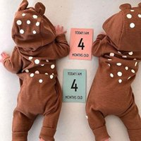 Wholesale bear jumpsuit winter online - Hot Ins Baby boy clothing Dots Bear ears Romper with Hood Cute Jumpsuit Boutique Baby clothing Zipper Hotsale cotton Winter