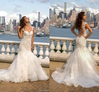 Wholesale Short Fitted Skirts - 2018 Sexy Illusion Back Lace Mermaid Wedding Dresses Sexy Backless Fitted Crystal Beaded Sweetheart Tiered Skirts Bridal Gowns