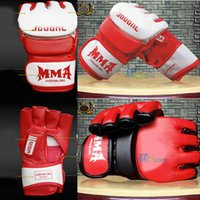 Wholesale Muay Thai Leather Gloves - 2016 New MMA Boxing Gloves PU Leather Half Mitts Mitten Muay Thai Training Boxing Glove