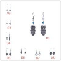Wholesale Cheap Anchor Earrings - Fashion Vintage Owl Fatima Zahra Hand Boat Anchor Cross Charm Dangle Earrings For Women Cheap Jewelry QH