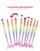 Wholesale Goat Handling - Eye Makeup Brushes Set 10pcs set Mermaid Handle Design Blush Powder Eyebrow Eye shadow Eyeliner Eyesocket Blending Nose Fan Make Up Brush